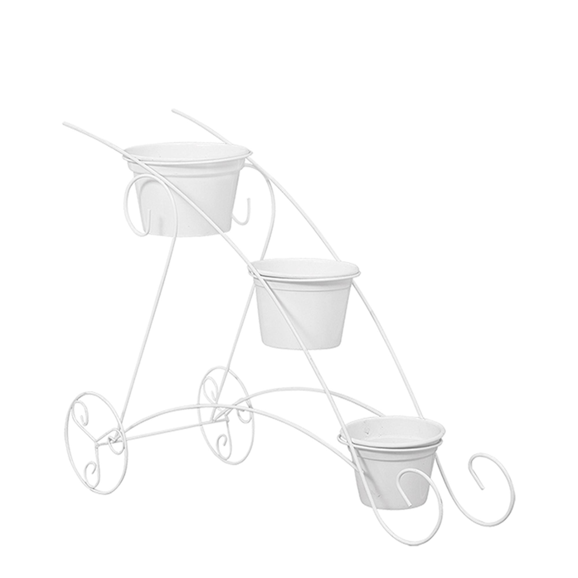 Carrinho c/ 3 Vasos Aluminio