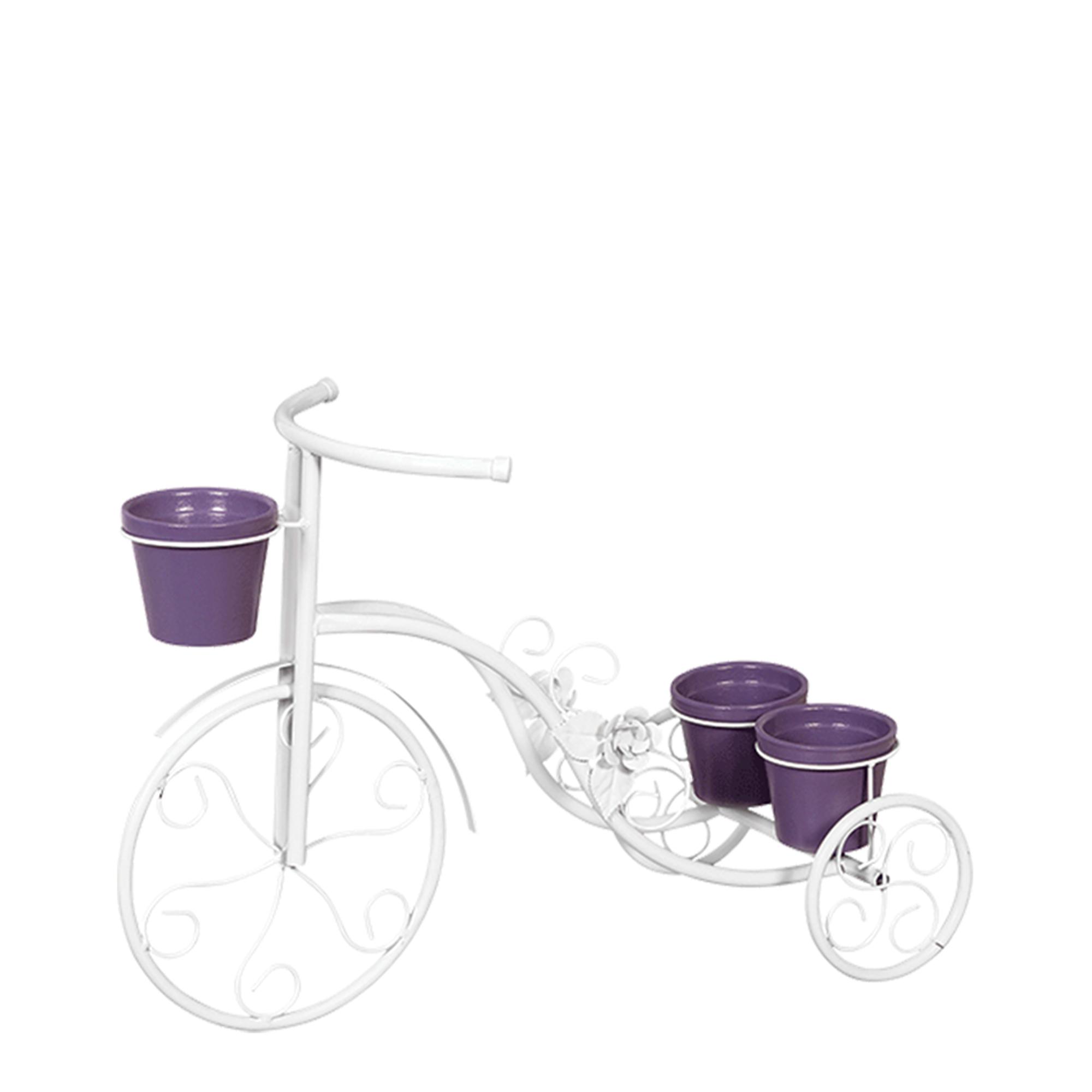Bicicleta Flor Grande c/ 3 Vasos de Barro