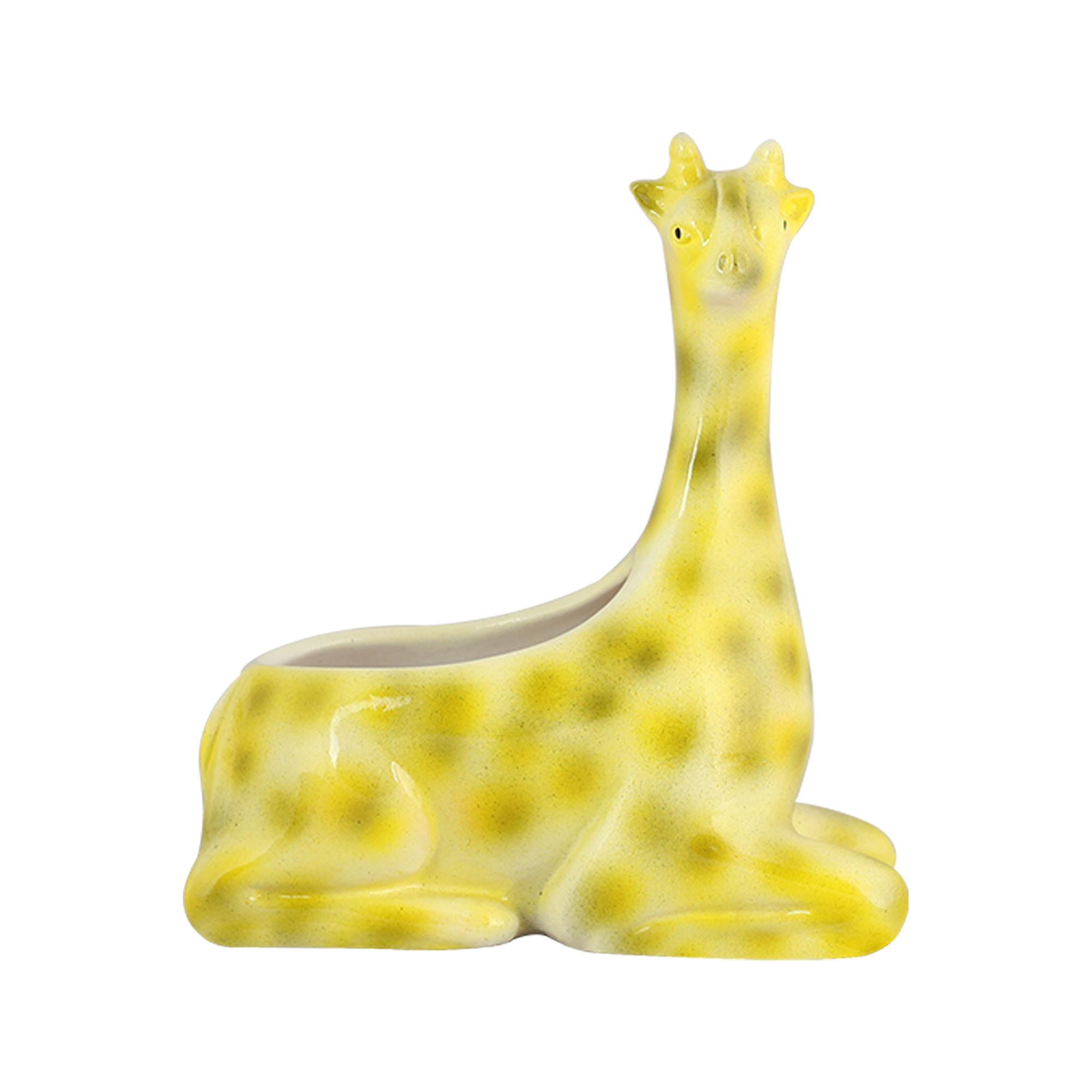 Girafa Cerâmica Deitada Pequena