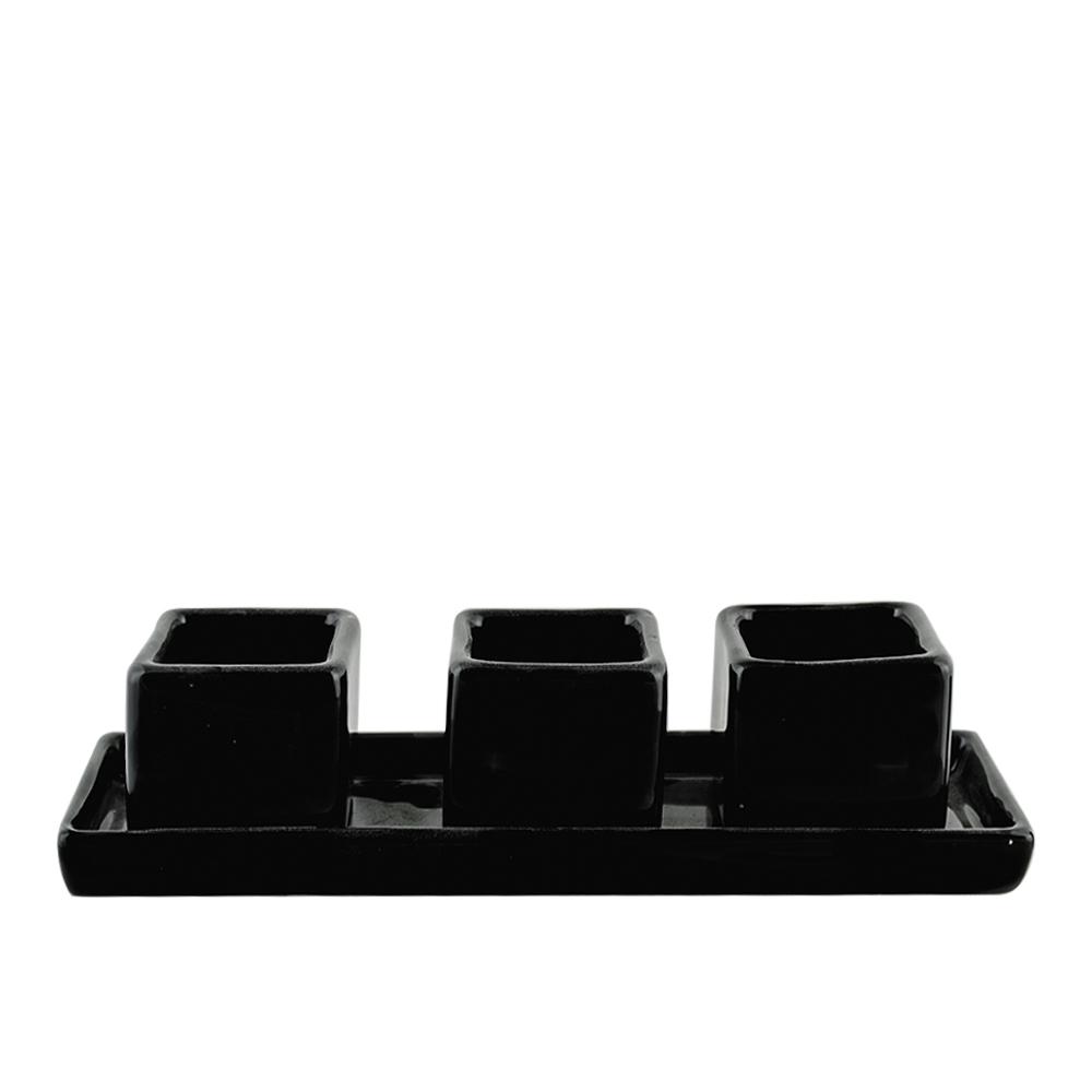 Trio de mini Cachepo caixa com Prato