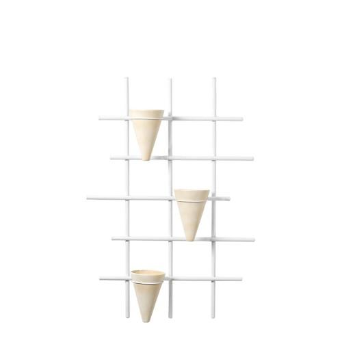 Suporte Trepadeira Vertical c/ 3 Vasos Cone